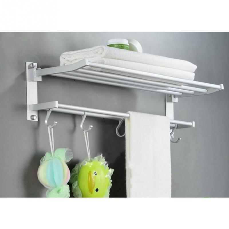 Bathroom shelf with towel bar Barnwood Bathroom 2019 Space Aluminum Double Towel Rack 24 Inch Wih Hooks Towel Bar Bathroom Shelves Towel Rack Holders With Hook From Chenjin1451 2705 Dhgatecom Dhgate 2019 Space Aluminum Double Towel Rack 24 Inch Wih Hooks Towel Bar