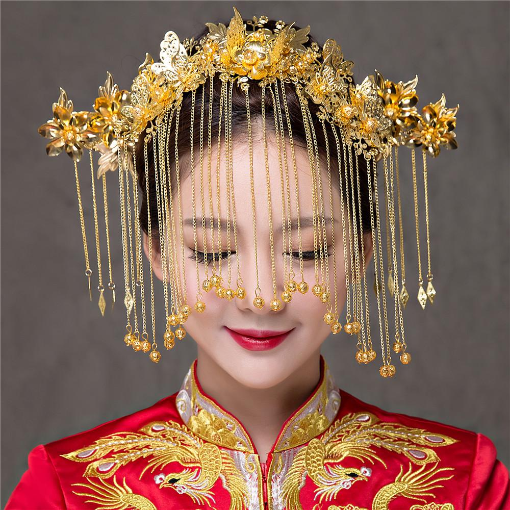 Altın Rengi Çin Tarzı Vintage Düğün Saç Takı Aksesuarları Püsküller Phoenix Saç Süsler Mücevher Bandı Saç Sopa