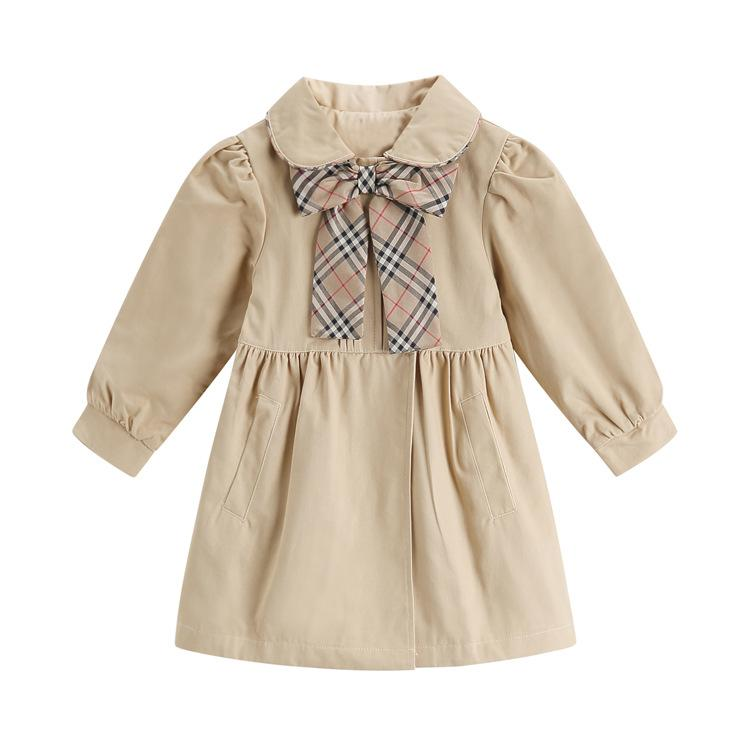 c0bc96161 Designer Kids Outwear Plaid Bows Tie Lapel Long Sleeve Girls Trench ...