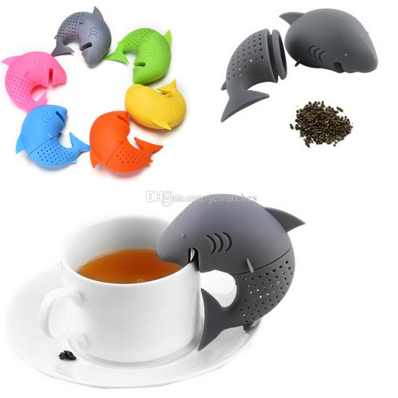 Silicone Shark Tea Infuser Loose Tea Leaf Passoire Flottant Filtre Panier Lâche Thé Feuille Ball Herbal Spice Coffee Tool