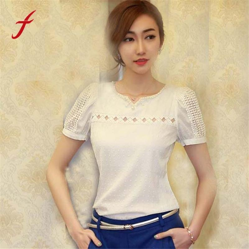 b5b24f07 2019 2015 New Summer Style Shirts Women White Lace Top Short Sleeve Shirt V  Neck Doll Chiffon Blouse Tops Camisa Feminina Plus Size From Stephanie05,  ...