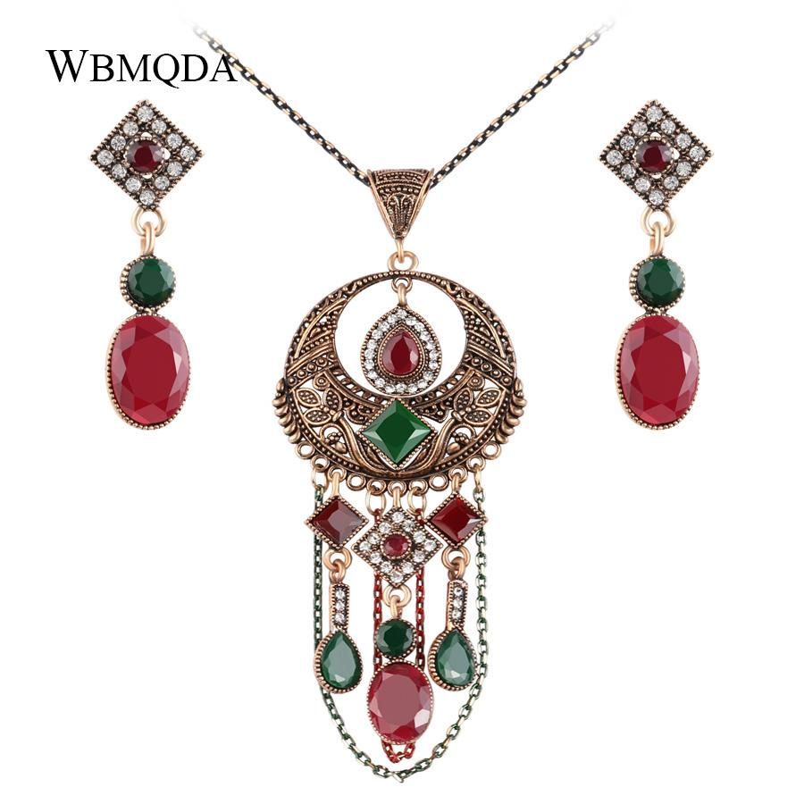 2 Pcs/lot Turkish Antique Gold Bridal Jewelry Sets Vintage Tassel Statement Necklace Earrings For Women Ethnic Accessories