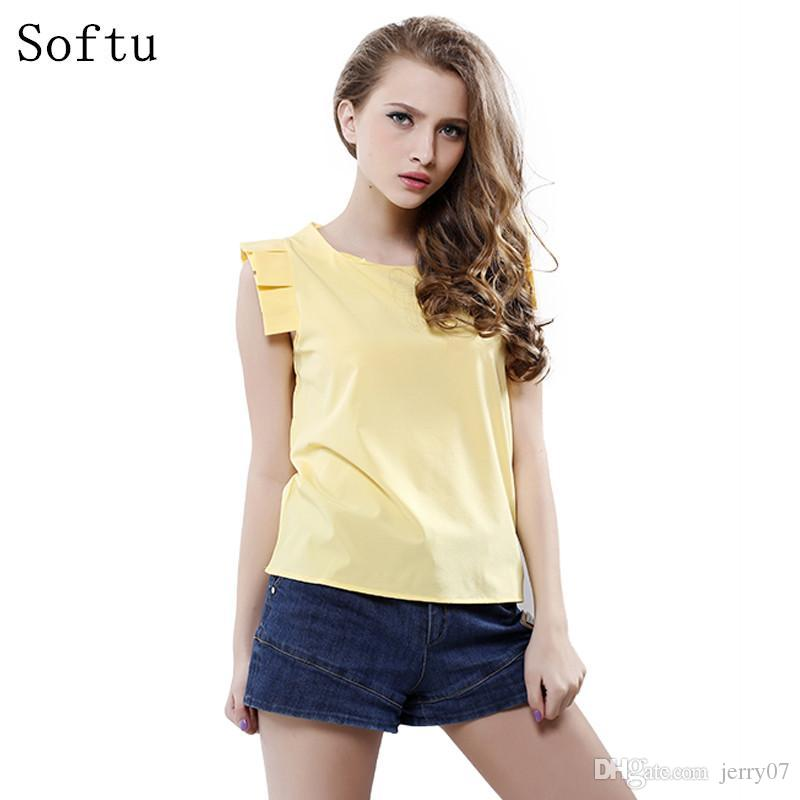 Fashion Women Summer Blouse O-Neck Butterfly Sleeve Solid Shirt Elegant Leisure Chiffon Blouses