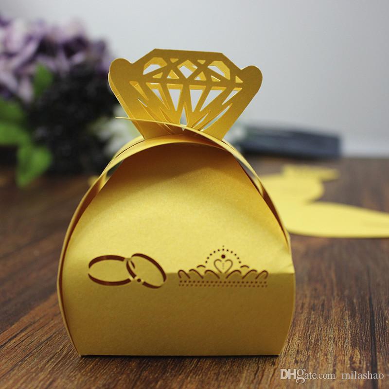 Fedi nuziali il taglio al laser giallo Scatole bomboniere brillanti bomboniere regalo caramelle al cioccolato