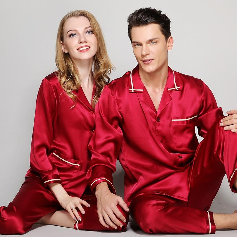 07ae97519e 2019 Mens Silk Pajamas Sets Men 100% Silk Satin Pajamas Set Sleepwear Set  Loungewear Robes Man Spring Red Grey Pajama Sets L 2XL From Watch2013