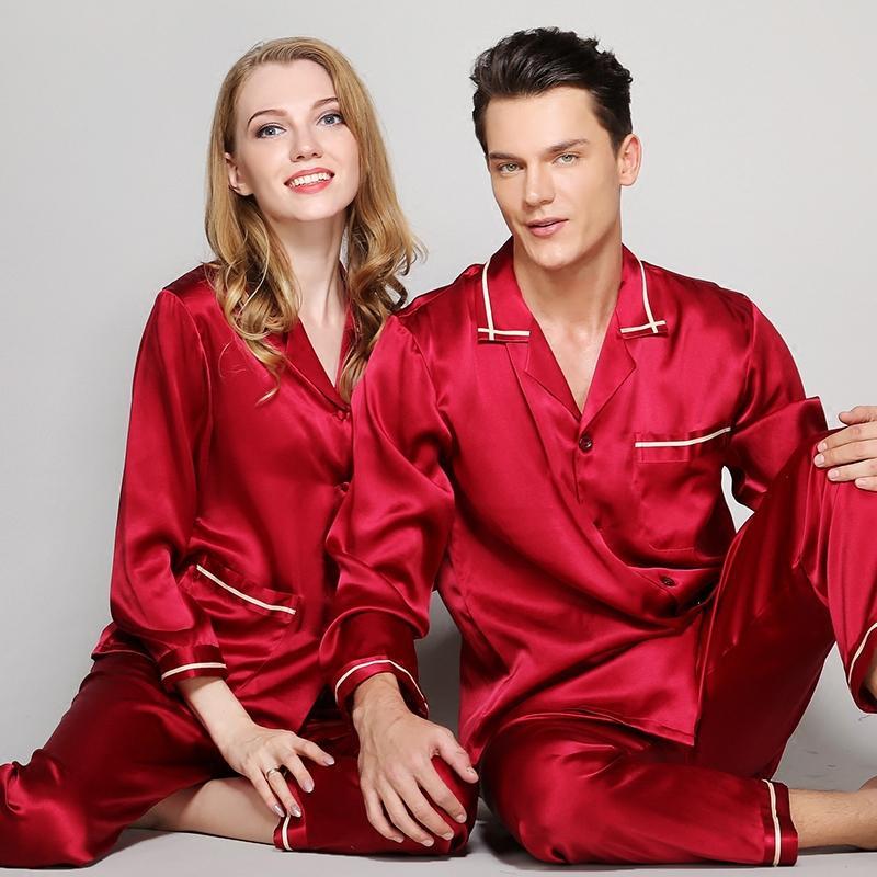 53b48d7707c9 2019 Mens Silk Pajamas Sets Men 100% Silk Satin Pajamas Set Sleepwear Set  Loungewear Robes Man Spring Red Grey Pajama Sets L 2XL From Watch2013
