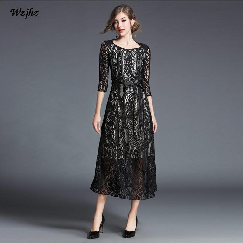499ac6e926621 Satın Al WZJHZ 2018 Yeni Kadın Dantel Elbise Yuvarlak Yaka Hollow Seksi Ince  Eğlence Iş Vestidos Moda Siyah Elbise, $54.54 | DHgate.Com'da