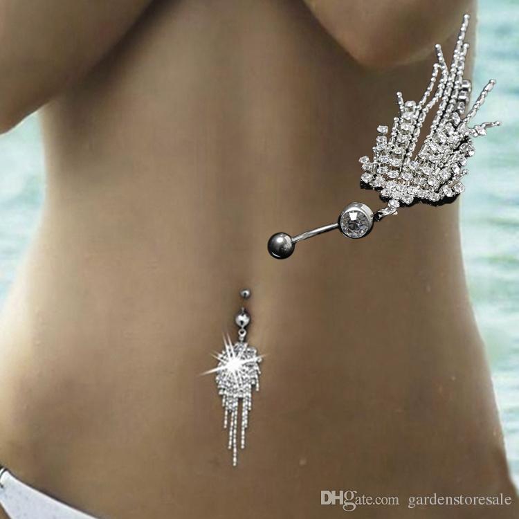 أزياء الساخن مثير التيتانيوم الصلب السرة ثقب الجسم مجوهرات البطن مخلب سلسلة الشرابة مسمار الاكريليك للنساء