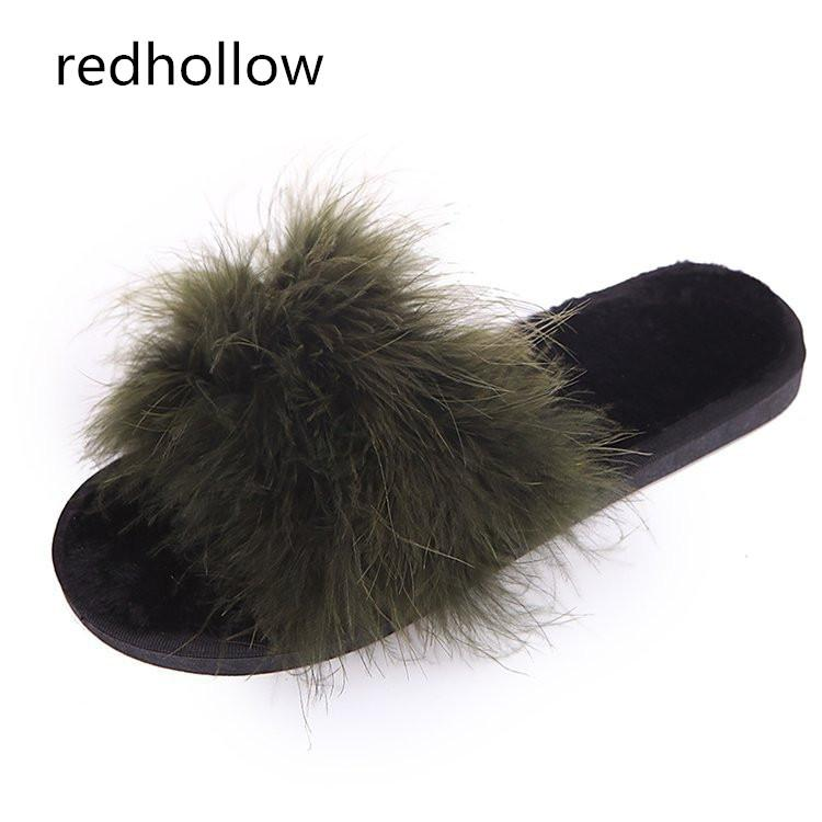 3d70b1b83e7c Feather Slippers Women Winter Home Slippers With Fur Fashion Warm Shoes  Woman Slip On Flats Female Slides Home Indoor Womens Slippers Sheepskin  Slippers ...