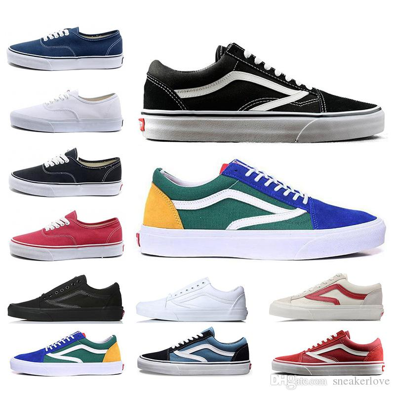 32a4cb2d6b8c Cheap Top Fashion Mens Casual Shoes Balck White Red Yellowe Blue Old Skool  for Students Women Canvas Sneakers Designer Shoes 36-44