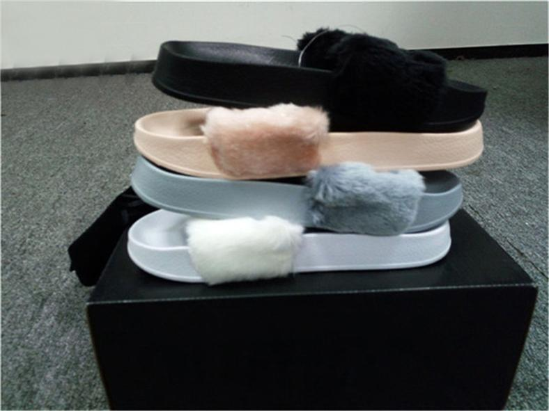 6dbde6a4252 2018 Leadcat Fenty P7Puma Rihanna Faux Fur Slippers Women Indoor Sandals  Girls Fashion Scuffs Pink Black White Grey Slides Slippers With Box Slippers  ...