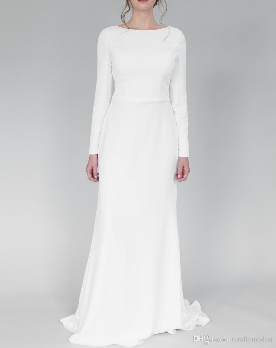 Mermaid Long Sleeves Modest Wedding Dresses With Sleeves Boat Neck Full Sleeves Simple Informal LDS Temple Bridal Gowns 2020 Custom Made