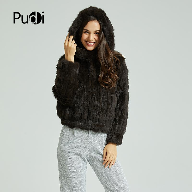 Pudi CT803 Women S Real Rabbit Fur Knit Warm Coat Girl S Winter Jackets  Sweaters Fashion Coats With Fur Hood Coat C18110301 Coat Coats From  Linmei0005 d7b97e6952
