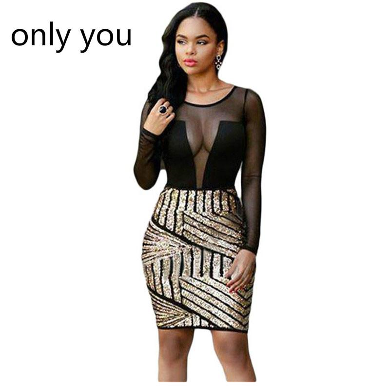 Only You Bodycon Dresses Autumn Women 2018 Sexy Long Sleeves Mesh ... a56a69f38bb1