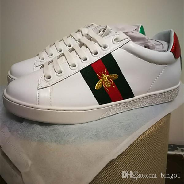 Must-have Branded Men White Leather Ace Embroidered BEE Sneaker Designer Women Rubber Sole Lace-up Casual Shoes Size EU35-44 get to buy sale online discount sale BgD10