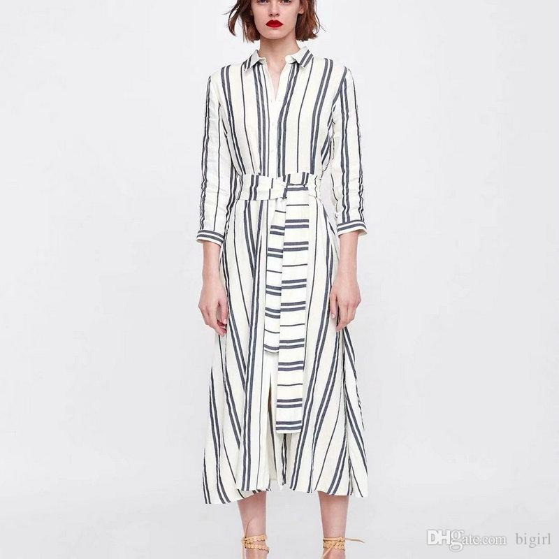 f9e737552 New Women Striped Cotton And Linen Dress Fashion Turn Down Vintage Collar  With Belt Casual Dress Female Long Sleeve Dresses Lace Sundress Floral  Cocktail ...