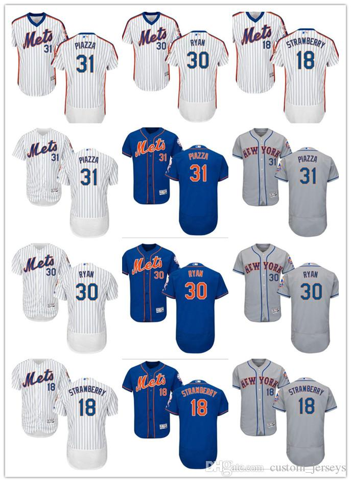 buy popular 93d8f f4202 Men women youth New York custom Mets Jersey #18 Darryl Strawberry 30 Nolan  Ryan 31 Mike Piazza Blue Grey White Baseball Jerseys