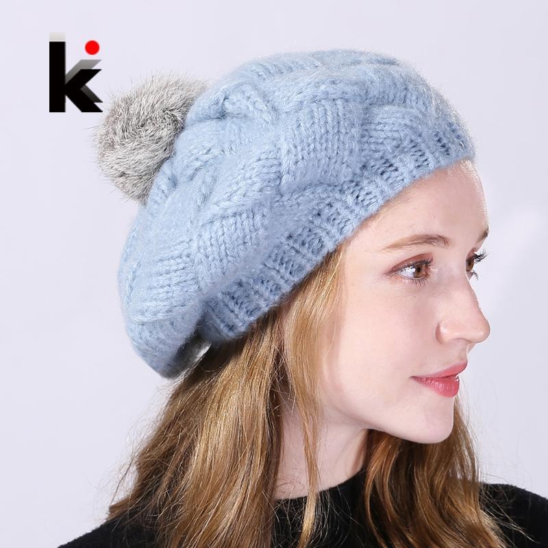 23978dcd2ab 2019 Winter Women s Berets Real Rabbit Fur PomPom Knitted Wool Hat Ladies  Autumn Flat Caps Female Beret Hats For Women Boina Feminina From Juemin