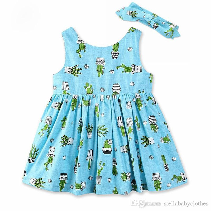 c7b6d8d98e7f 2019 Girls Summer Dress 2018 New Style Cactus Printed Sleeveless Cotton Kids  Dresses For Girls Children Clothes Cotton Sundress From Stellababyclothes,  ...