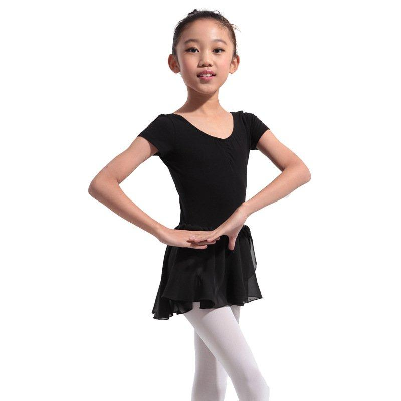 36272873a45b 2019 Kids Girls Short Sleeve Cotton Dance Clothes Siamese Gymnastics ...
