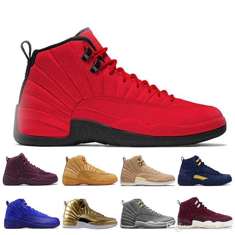 12 12s Michigan XII Mans Basketball Shoes Sneakers Red Black Taxi Playoffs Gamma Blue Grey Sports Running Shoes For men US 5.5-13