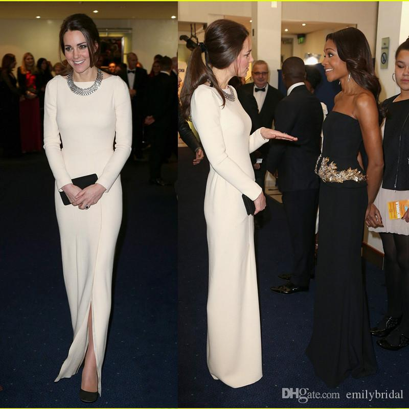 Großhandel Kate Middleton Abendkleider Elfenbein Lange Ärmel ...