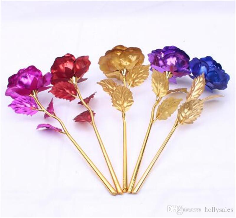 24 k folha de ouro banhado a rosa decoração de casamento de ouro rosa flor artificial única flor OR base de flor frete grátis