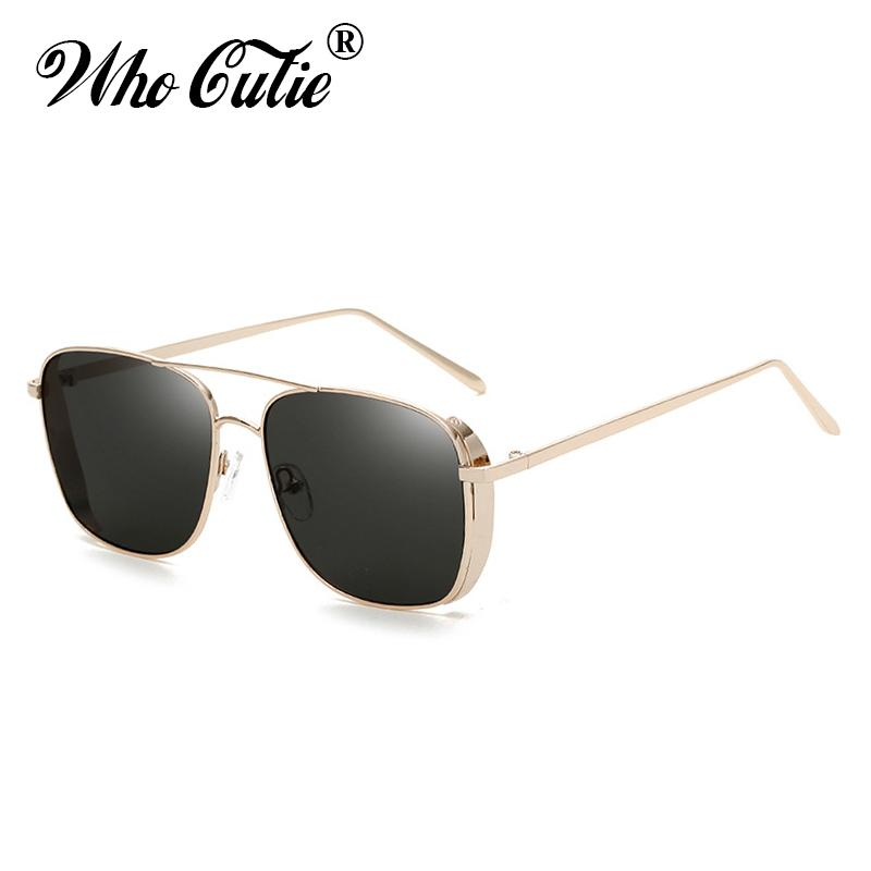 da7b93a2e29 WHO CUTIE 2018 Rectangular Steampunk Sunglasses Men Brand Designer Retro  Black Reflected Rectangle Sun Glasses Male Shades OM760 Sunglasses Cheap  Sunglasses ...
