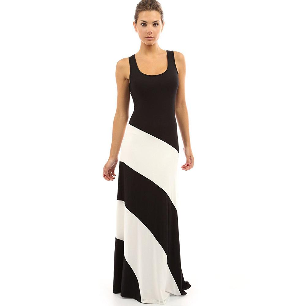 0f9fa2de246 Hot Elegant Striped Dress Black White Splice Sexy Party Dresses Round Neck  Sleeveless Summer Maxi Dress Vestido De Festa Wrap Dresses Plus Size  Evening ...
