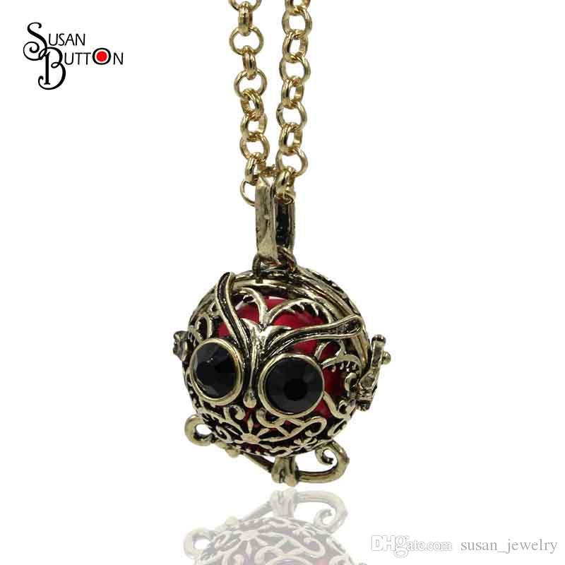Wholesale Cute Chiming Owl Harmony Ball Lokcet Pendant Hollow Cage Sound Music Ball Locket Necklace For DIY Pregnancy Necklace