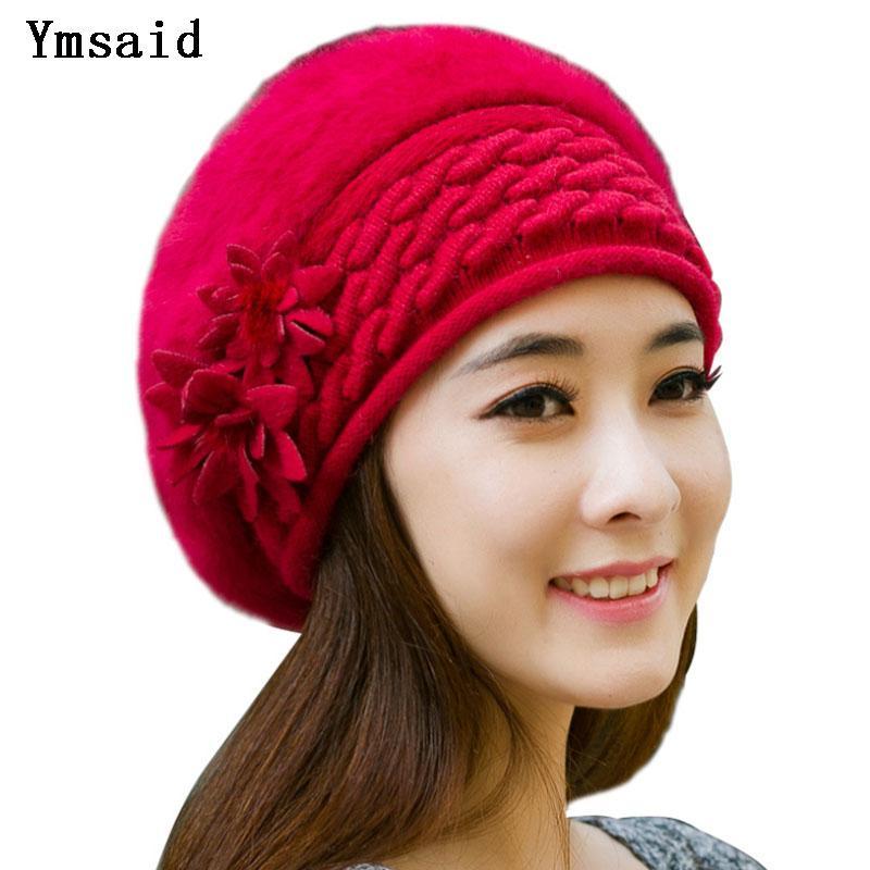 Compre Ymsaid Gorros Mulheres Pele De Inverno Chapéus Boina Menina De Malha  Outono Chapéus Para As Mulheres Bonnet Marca Cabelo Coelho Senhoras Quente  ... 6377932ee7c
