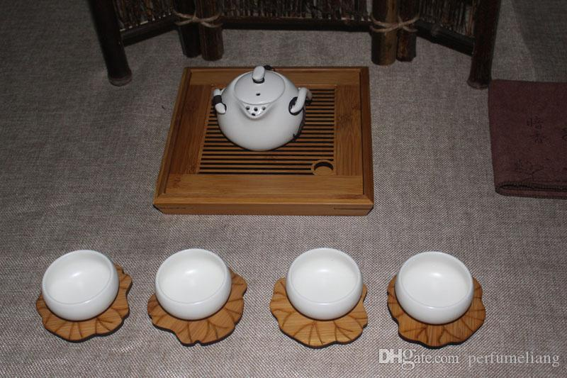 Bamboo Cup Coasters Creative Lotus Leaf Shape Heat Resistant Bowl Mat Pot Holder Kong Fu Tea Accessories ZA6374