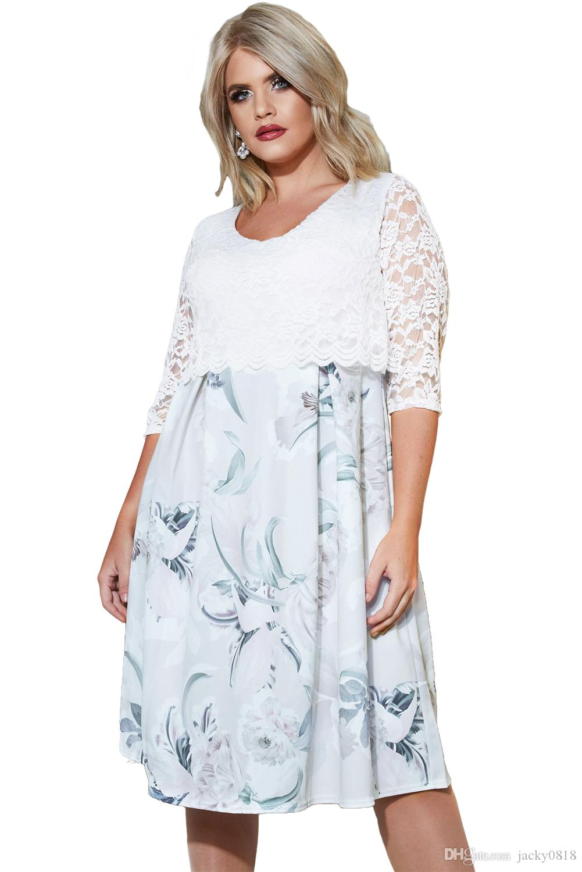 765ca3abb Compre Outono Roupas Femininas Plus Size Patchwork Laço Preto Overlay  Floral Meia Manga Curvilínea Vestido Oversized Vestido De Jacky0818