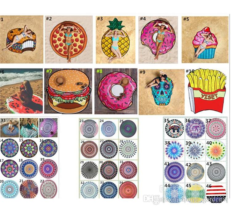 Runde Strandtücher Strandduschtuch Decke Yogatuch Schädel Eis Erdbeere Smiley Emoji Ananastorte Wassermelone 46 Style Chiffon