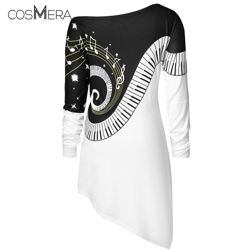 437437fb98c CosMera Music Notes Asymmetrical T Shirt Womens Clothing Skew Neck Long Sleeve  T Shirt Female Ladies Tops Fall Tshirts Plus Size T Shirts For Sale Printed  T ...