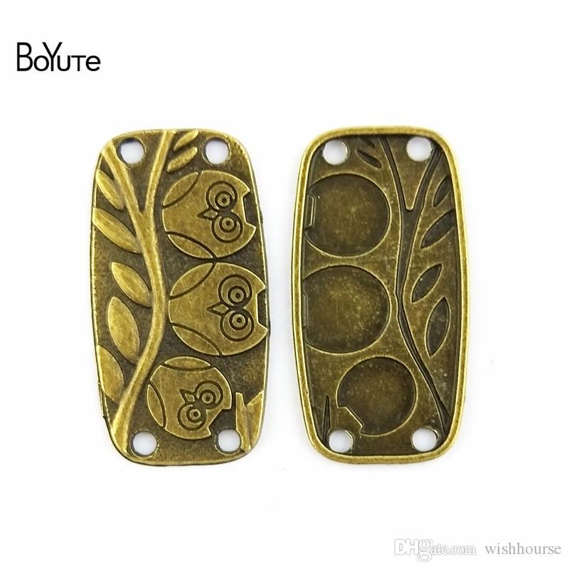 BoYuTe  38*20MM Charms Owl Connector Antique Bronze Zinc Alloy fit Bracelet Necklace Diy Metal Jewelry Findings & Components