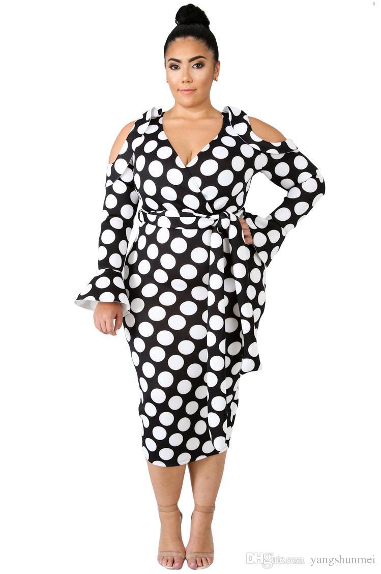 687e0bd8e1ef38 Großhandel Plus Größe Herbst Damen Büro Kleid Frauen 5XL Dot Elegantes Kleid  Fliege Bodycon Kalt Schulter Lange Sexy Kleid Von Yangshunmei, $68.35 Auf  De.