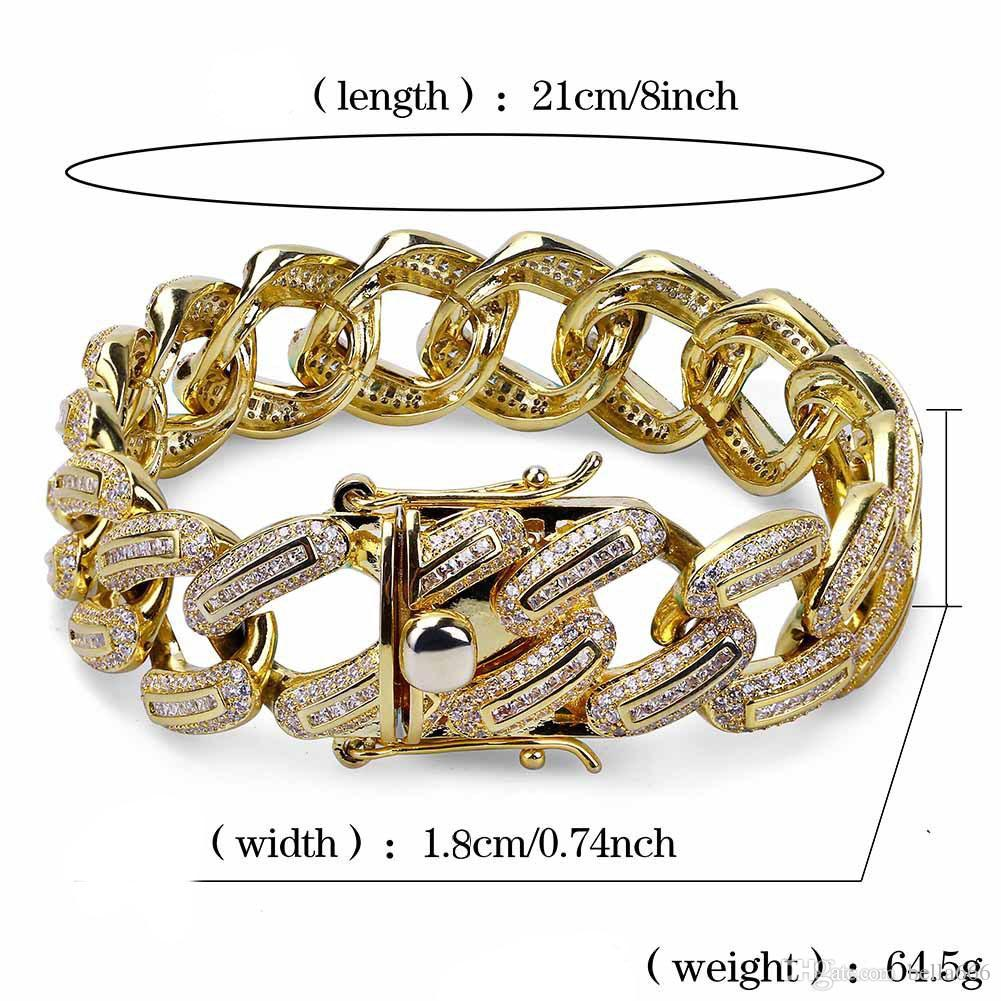Men's Large Miami Cuban Chain Necklace Bracelet Set 18K Gold Plated Cubic Zirconia Hip Hop 18mm Width Jewelry for Male
