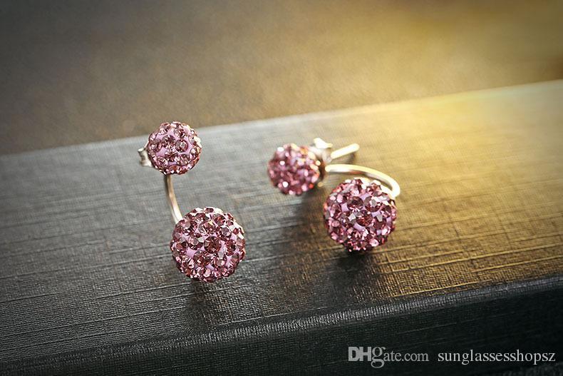 High quality Double sided Shambala Ball Stud Earrings Diamond Crystal disco beads Earings 925 Silver plated fine Jewelry for women girls