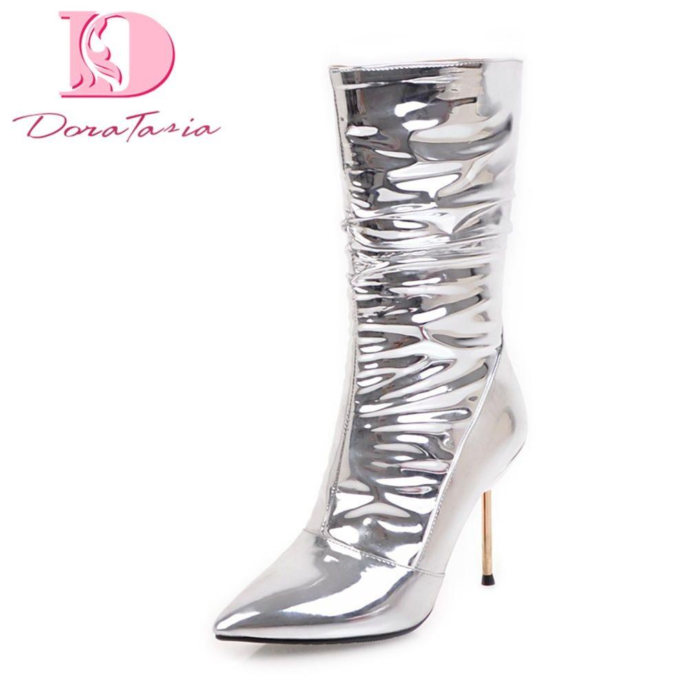 ac80c9b2 Compre Doratasia 2018 Tamaño Grande 32 43 Tacones Finos Atractivos Botas De  Fiesta Con Punta Estrecha Zapatos De Mujer Zip Up Venta Caliente Botas De  Media ...