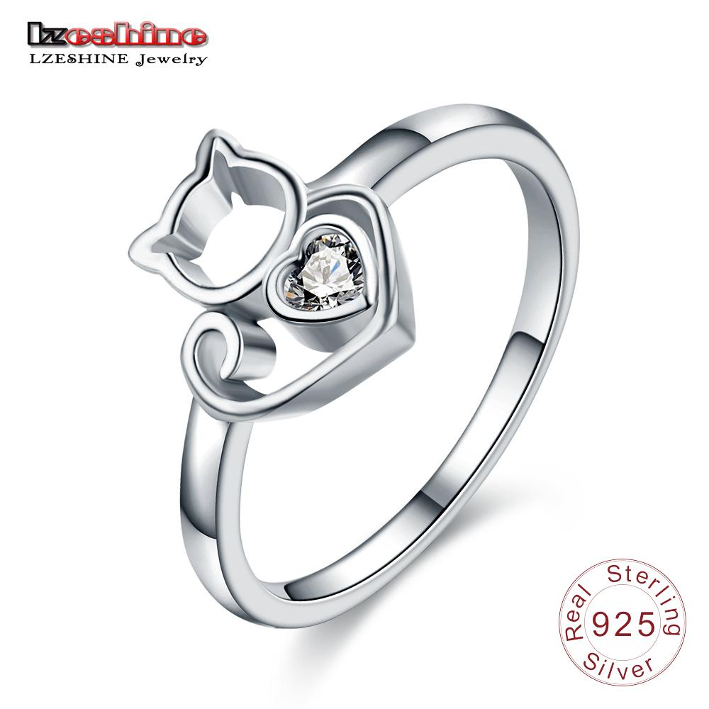 7efa26d0327 2019 LZESHINE New Design Charm Cat Silver Ring Authentic 925 Sterling Silver  Kitten Finger Rings For Women Romantic Jewelry Gifts From Zebrear