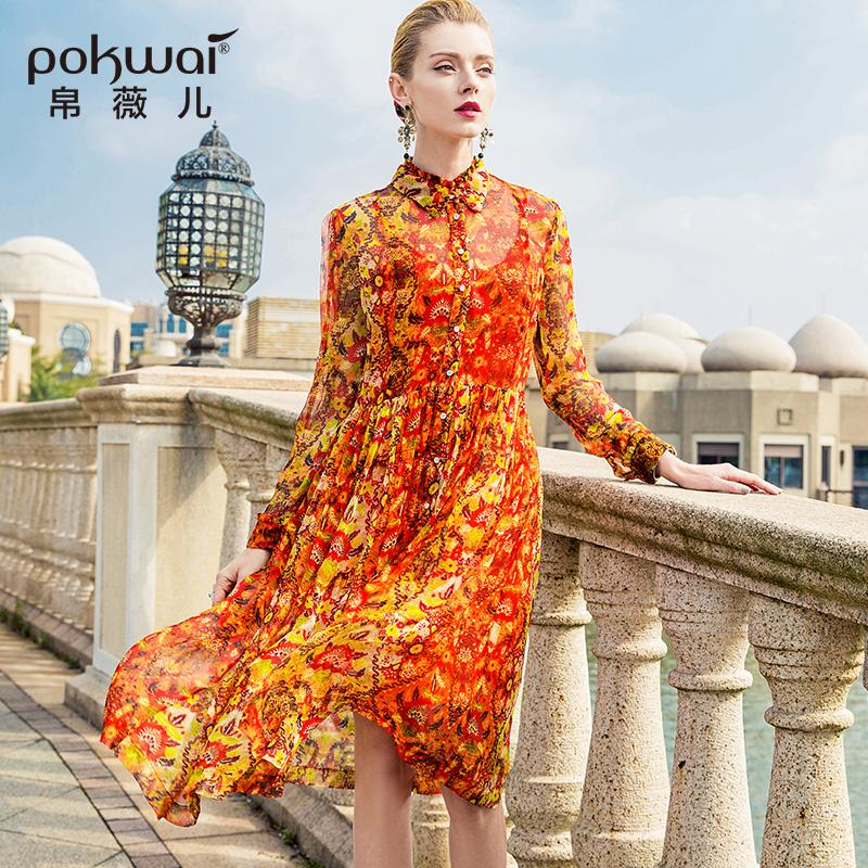 2019 POKWAI Midi Print Women A Line Silk Dress 2018 Spring New Fashion High  Quality Turn Down Collar Long Sleeve Party Dresses From Mangcao, ...