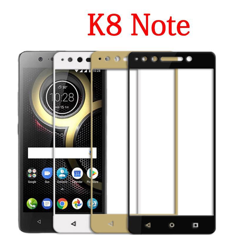 Lenovo k8 not tam kapak Için koruma cam temperli cam ekran koruyucu Lenovo  k8 not siyah beyaz filmi