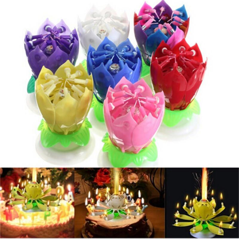New Art Musical Candle Lotus Flower Happy Birthday Party Gift Rotating Lights Decoration 8/14 Candles Lamp