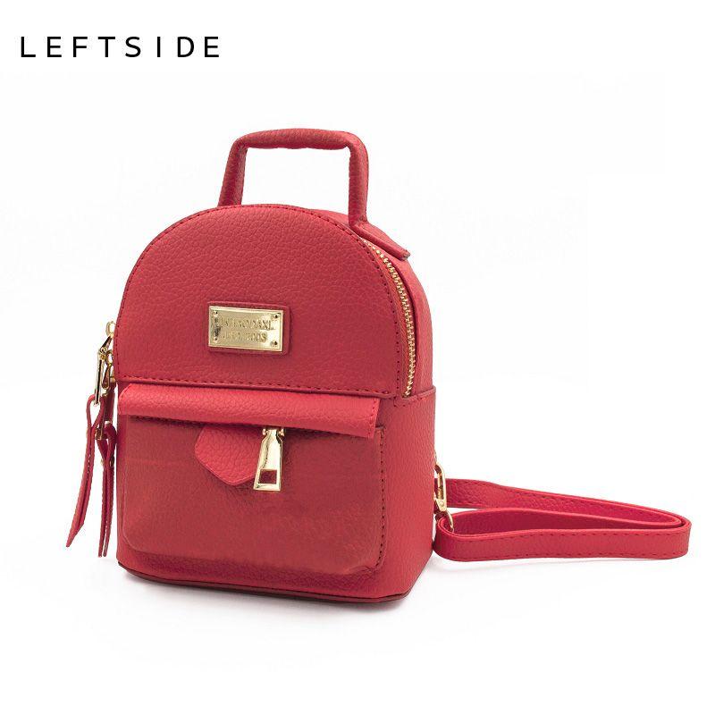 0ace2b3d84 LEFTSIDE 2017 Mini Backpacks For Teenage Girls Back Bag Women PU Leather  Small Shoulder Bag Feminine Teenagers Backpack Bagpack Swiss Backpack  Laptop ...