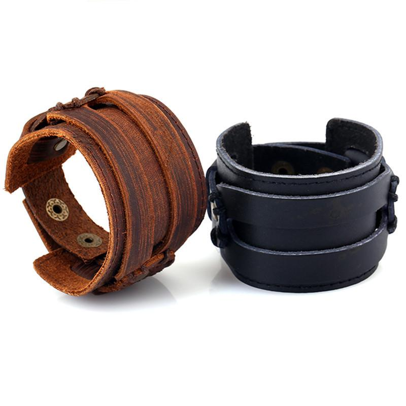 ad5c6175dff38 Matching Snaps Leather Cuff Bracelet Blanks Black Brown Punk Thick Wide  Strap Wristband for Mens & Womens Adjustable Jewelry Gifts Wholesale