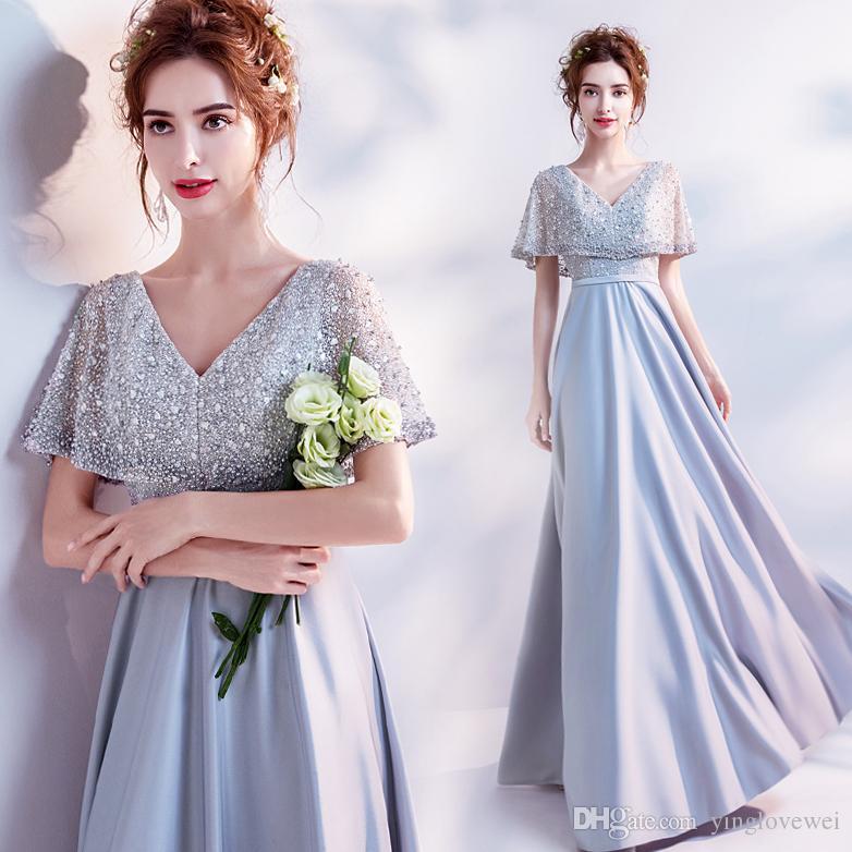 Angel Wedding Dresses Heavy Industry Pearl Cloak Grey Dinner Annual