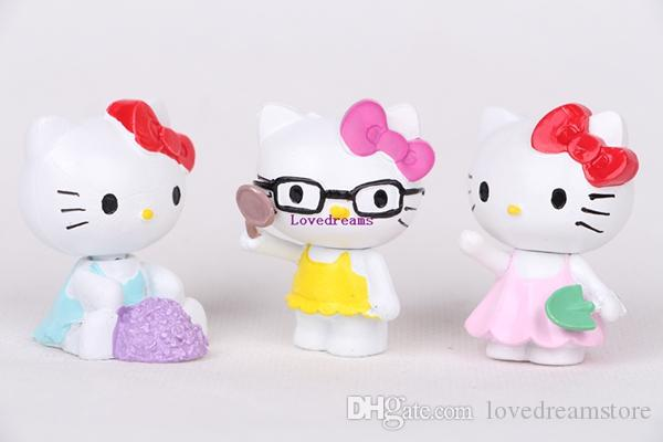 Kawaii Hello Kitty Figures Toys Lovely Summer Style PVC Action Figure for Kids Phone Accessories