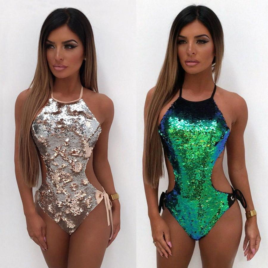 e6ac870378 2019 Sexy Sequined Swimwear One Piece Swimsuit Women Cut Out Monokini Bling  Bling Double Side Sequin High Cut Backless Bathing Suits From Swimwear2016