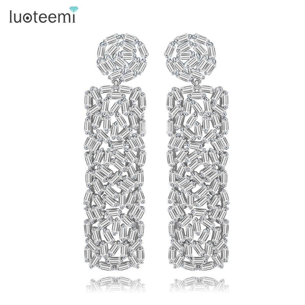 wholesale New Vintage Drop Earrings Unique Design Full Strip Shape CZ Crystal Round and Square Dangle Brincos Christmas Gifts